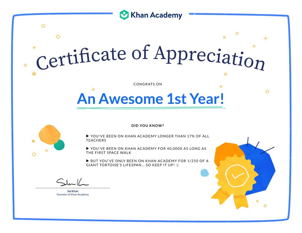 1st Khaniversary Certificate of Appreciaton