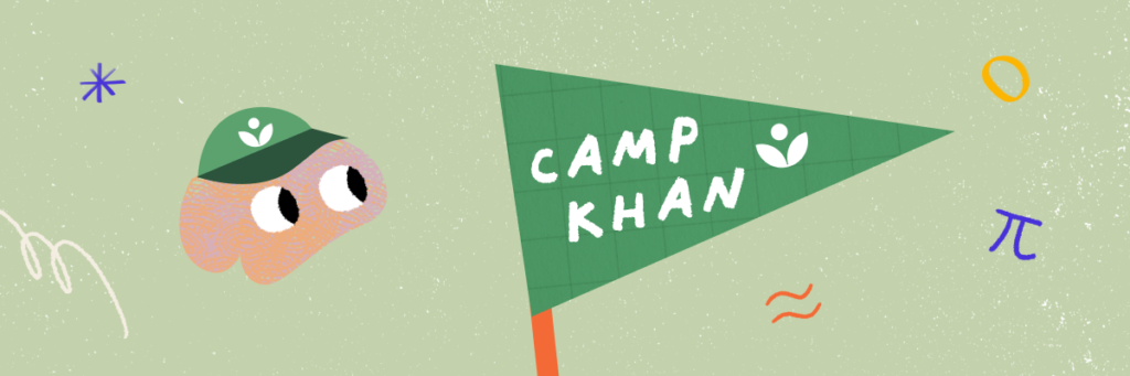 A green flag with the text Camp Khan on it. A cartoon brain wearing a green cap with a Khan Academy logo is looking at the flag.