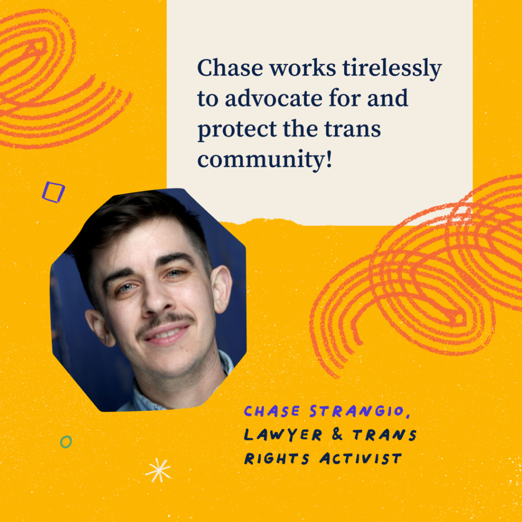 Headshot of Chase. Text on Grahpic: Chase works tirelessly to advocate for and protect the trans community! Chase Strangio, Lawyer & trans rights activist