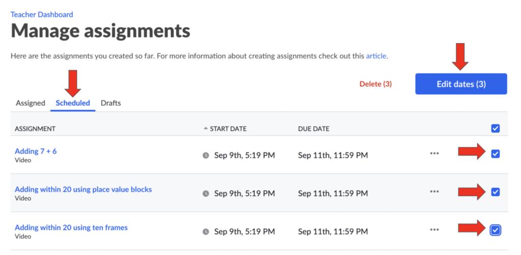Bulk Edit + Schedule Assignments Screenshot