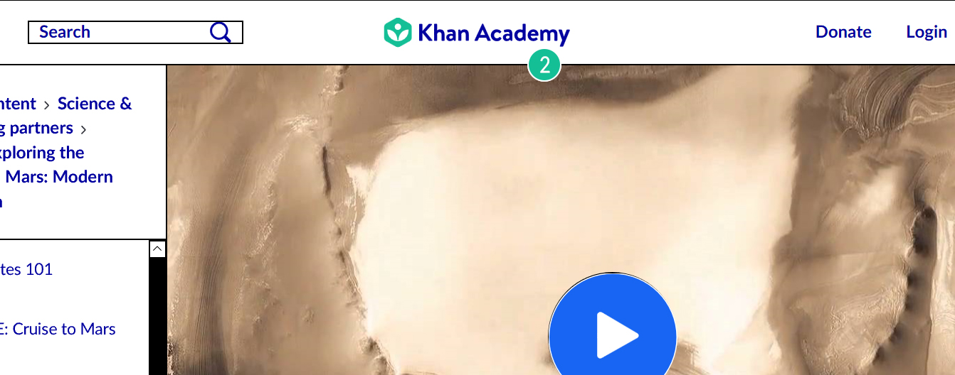 Screenshot of the global header at the top of the Khan Academy website. The header is white. In the center of the header is the Khan Academy logo icon, which is green. To the right of the logo icon is dark blue text that reads 'Khan Academy'.