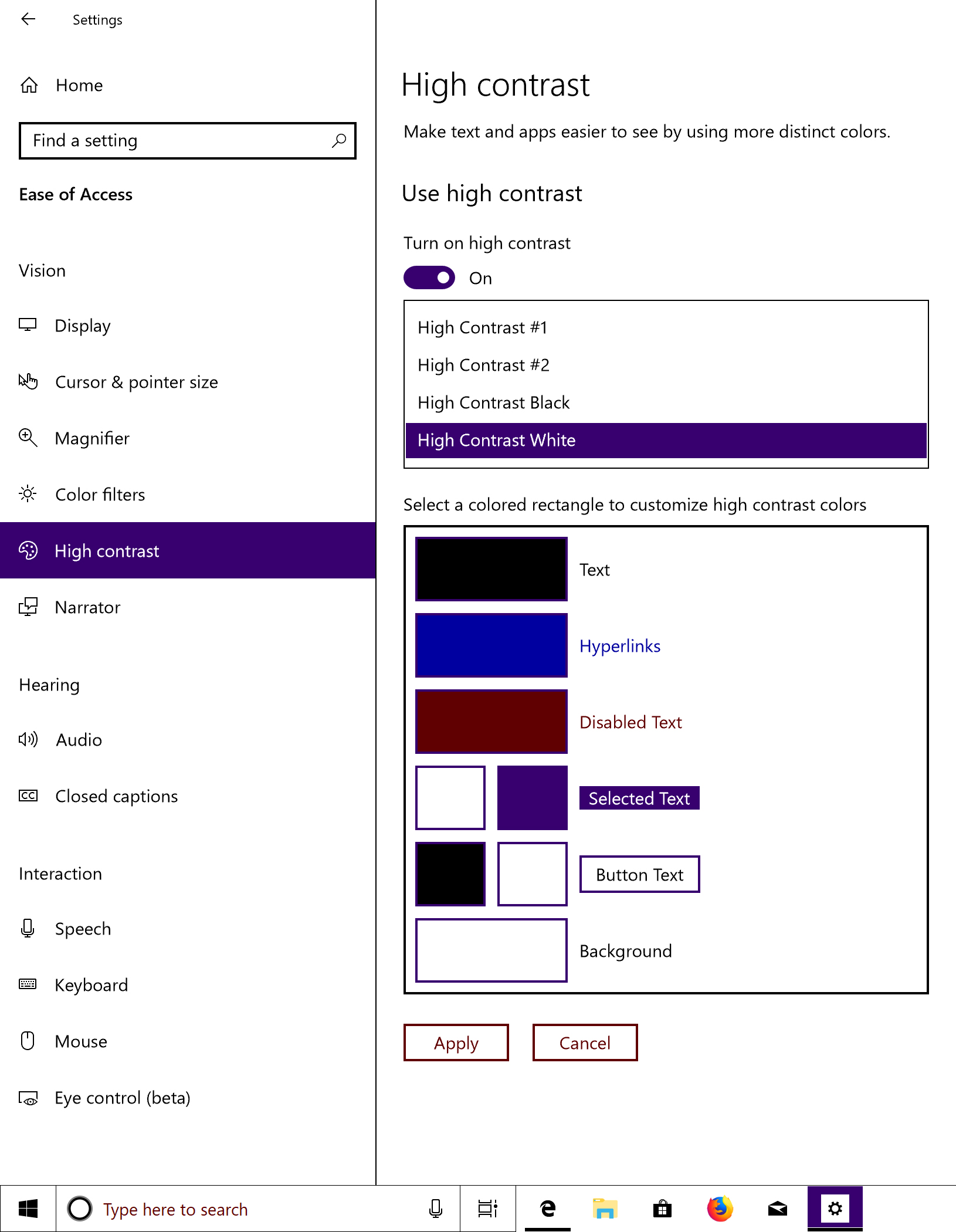 Screenshot of the Windows High Contrast Mode settings options in Windows. There are four options: 'High Contrast /#1', 'High Contrast /#2', 'High Contrast Black', and 'High Contrast White'. 'High Contrast White' has been selected and the settings is turned on.